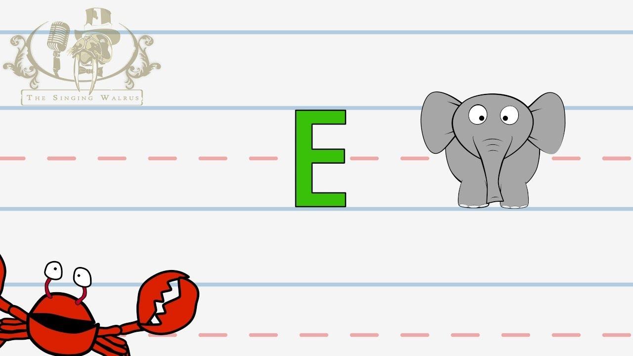 Immagini Lettera E: Alphabet Writing Lesson For Children