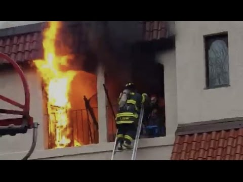 Firefighters Rescue Man from Burning Apartment (full version, uncensored)