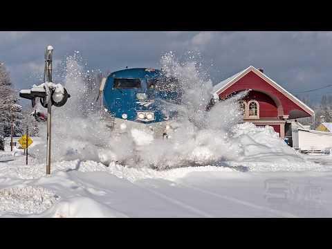 Amtrak Horn Plays Jingle Bells In Snow