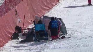 JO 2018 : Ski alpin - Slalom géant hommes. La chute dans les filets du Coréen Jung Donghyun !