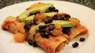 Butternut Squash Enchiladas with Black Beans