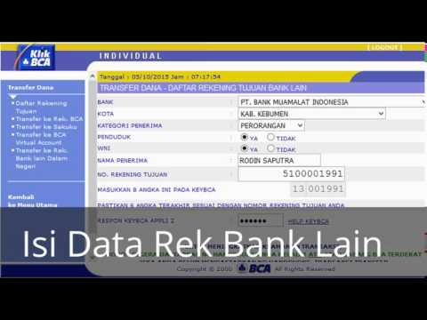 Cara Transfer ke Rekening BCA via klikBCA - YouTube