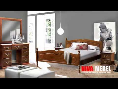 Видео Спальни из берёзы, дуба, ясеня Кровати, комоды, прикроватные тумбы, шкафы и туалетные столы.
