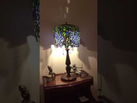 antique stain glass lamp and Art Deco pieces