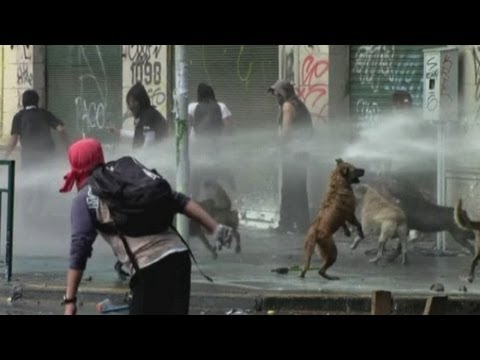 Violent student protests in Chile as molotov cocktails and traffic lights thrown in Santiago