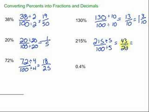 Converting Percents into Fractions and Decimals - YouTube