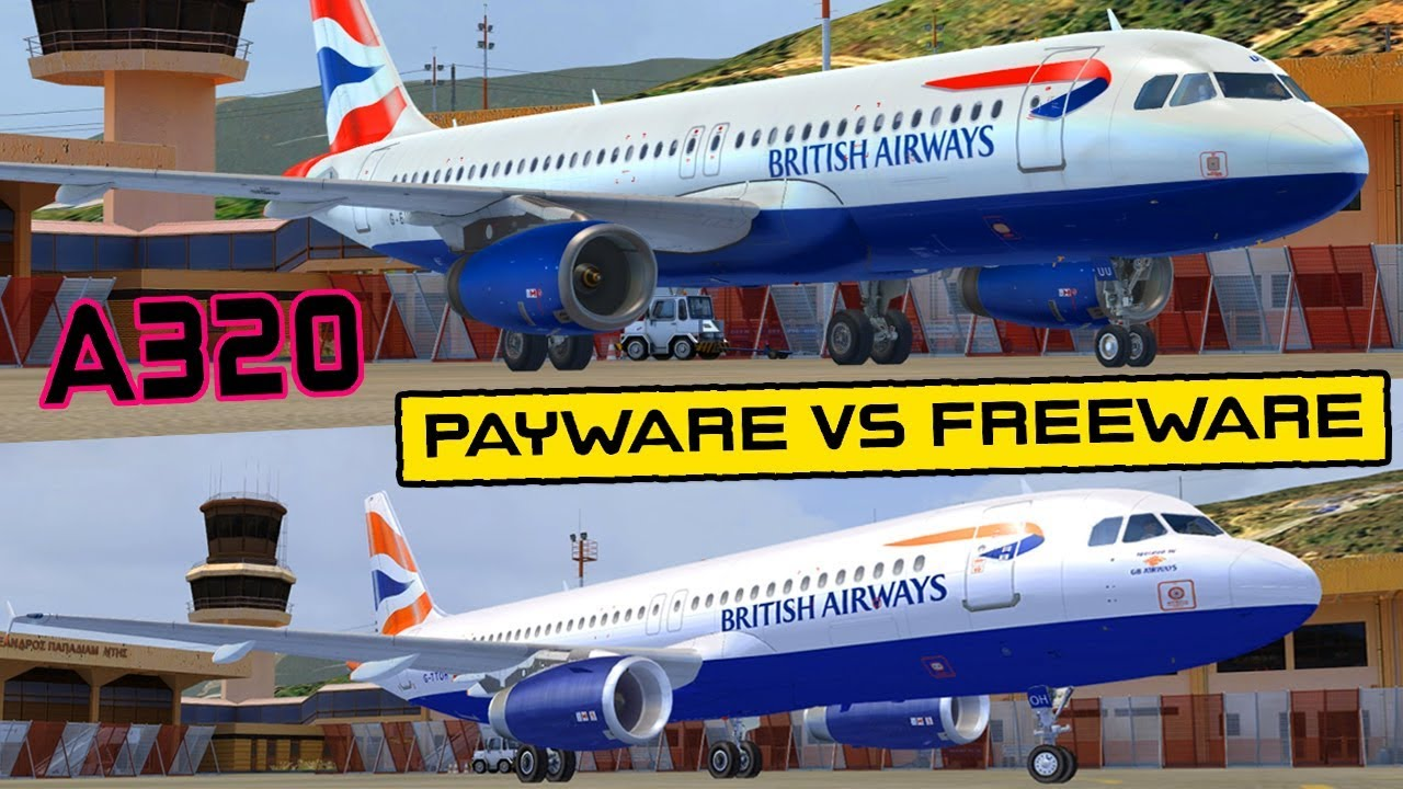 Payware VS Freeware Airbus A320 ( Airbus X vs Freeware Plane ) FSX / P3D HD