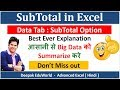 Excel Data Tab : SubTotal Option In Detail   Best Explanation in Hindi