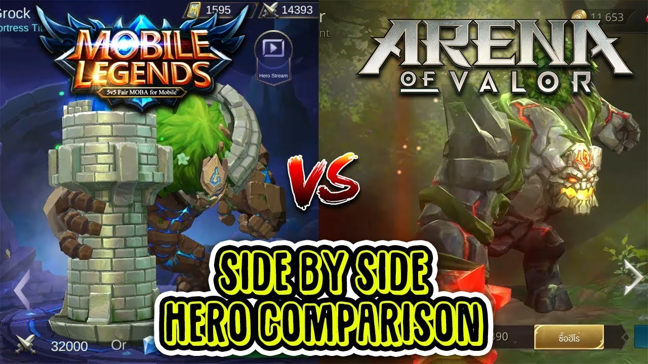Mobile Legends Vs Arena Of Valor Side By Side Hero Comparison