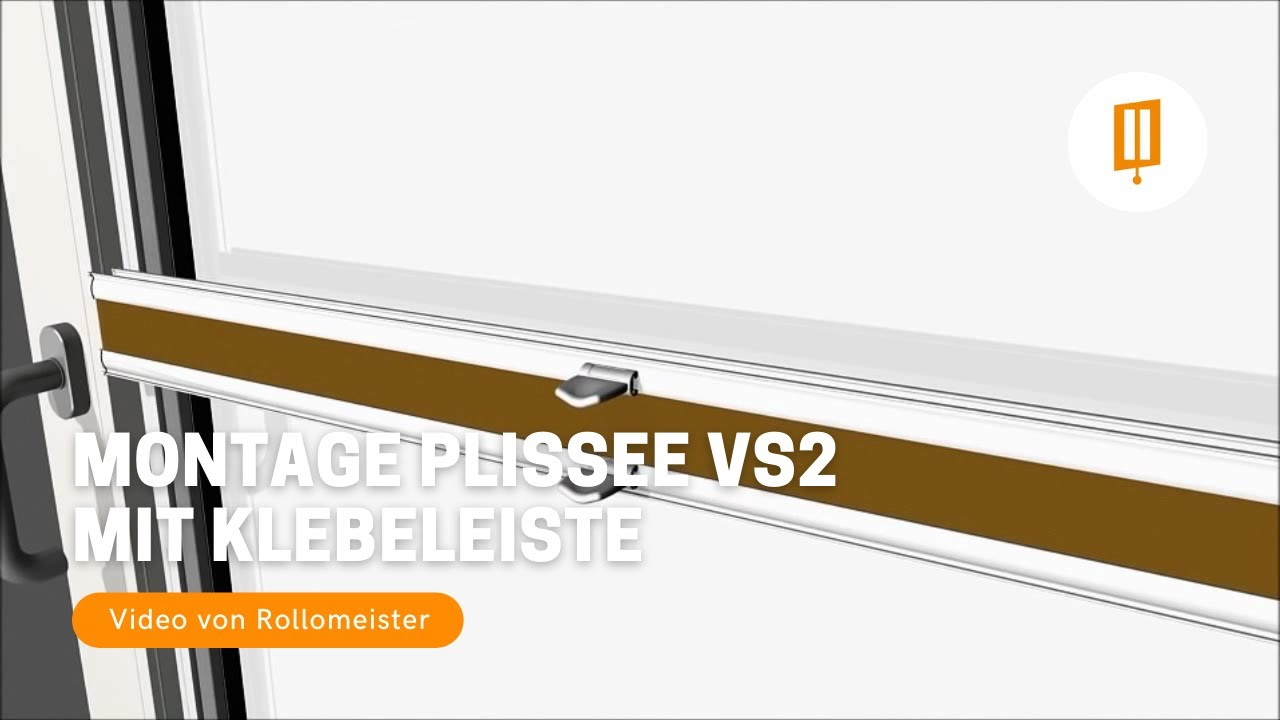 plissee vs2 montage zum kleben mit klebeleiste auf der glasscheibe video von rollomeister youtube. Black Bedroom Furniture Sets. Home Design Ideas