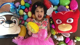 Easter eggs hunt 2018-  Sefu and mom hunt easter eggs and open for surprise toys.  unboxing toys