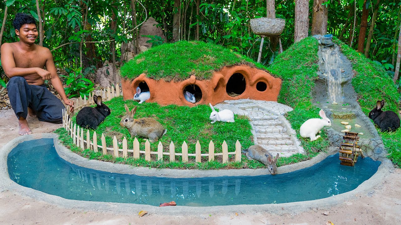 Rescue Rabbit And Turtle Build Hobbit House And Turtle Pond As Pet Building