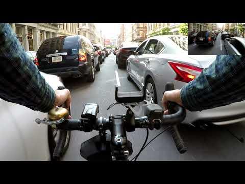 Lane Splitting an insane traffic jam on Broome Street in New York City - Chest & Helmet Cam