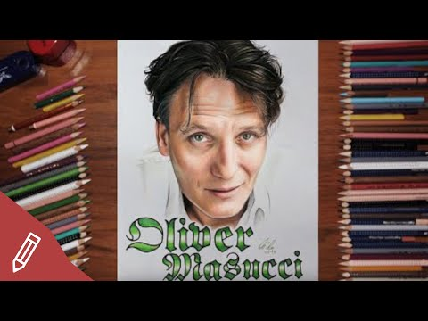 Drawing Oliver Masucci - REALISTIC PORTRAIT With COLORED PENCILS | Time Lapse