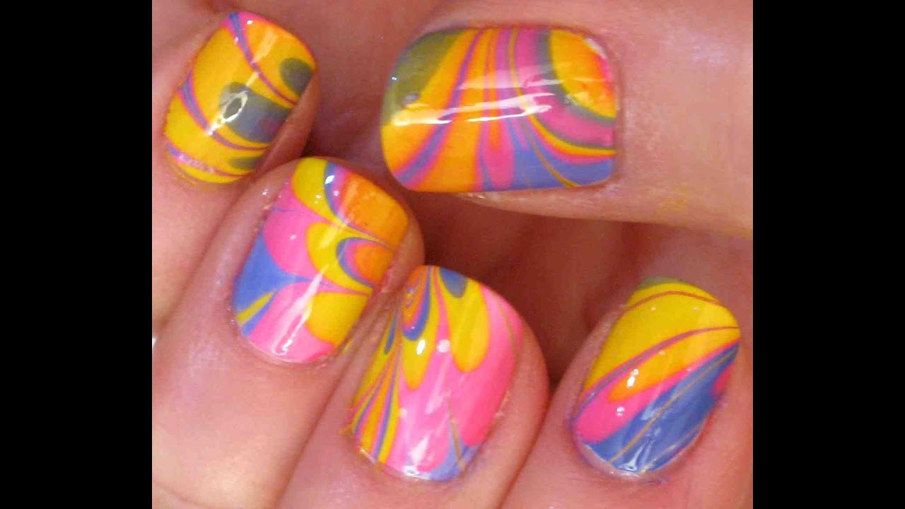 Bright Water Marble Nail Art Tutorial Youtube