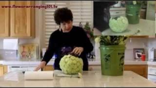 Flower Arranging - Green Carnation Pomander (ball of flowers)