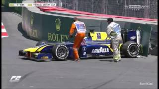 FIA F2 Azerbaijan 2017 Practice Rowland Crashes