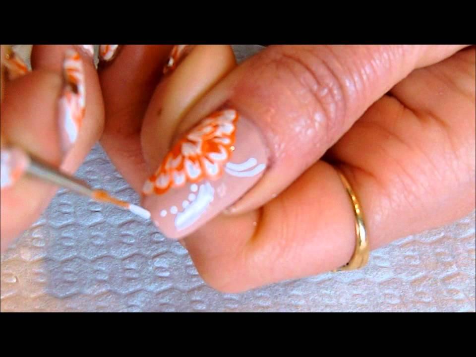 One Stroke Flower Nail Art White And Orange Youtube