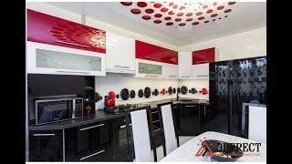 Угловая красно-черная кухня. Кухня под заказ в Минске.