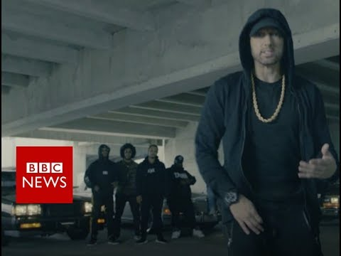Eminem's video message: 'We're not afraid of Trump' - BBC News