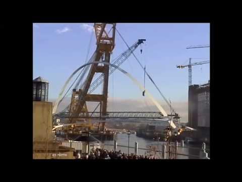 Gateshead Millennium Bridge Installation Edited Version with shots from Tall Ships 2005