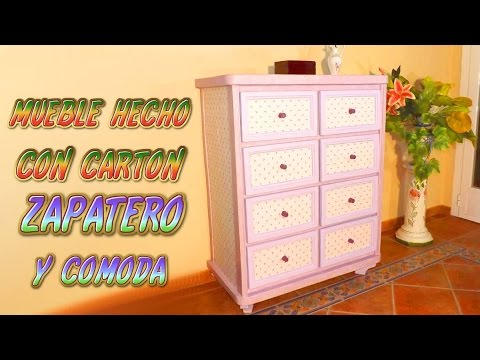 Mueble hecho con cart n zapatero y comoda muebles de for Como hacer una zapatera de madera paso a paso