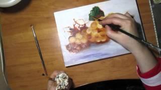 Натюрморт.Виноград.Живопись маслом.Видео урок.(ускоренная версия)(Сначала я научилась рисовать каплю воды,теперь по этому же принципу рисую виноград.Цвет можно выбрать любо..., 2016-03-30T08:31:20.000Z)