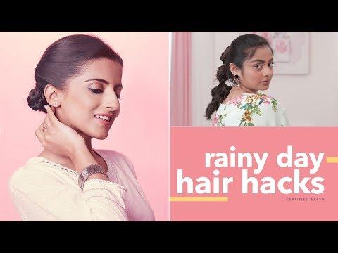 Hair Hacks For Rainy Days | Glamrs Hairstyles & Hacks - YouTube