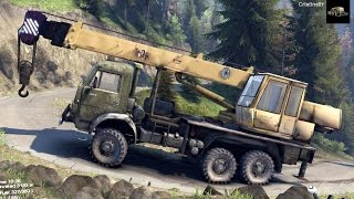 spintires 2014 the hill map kamaz crane rescuing a zil truck on a hill
