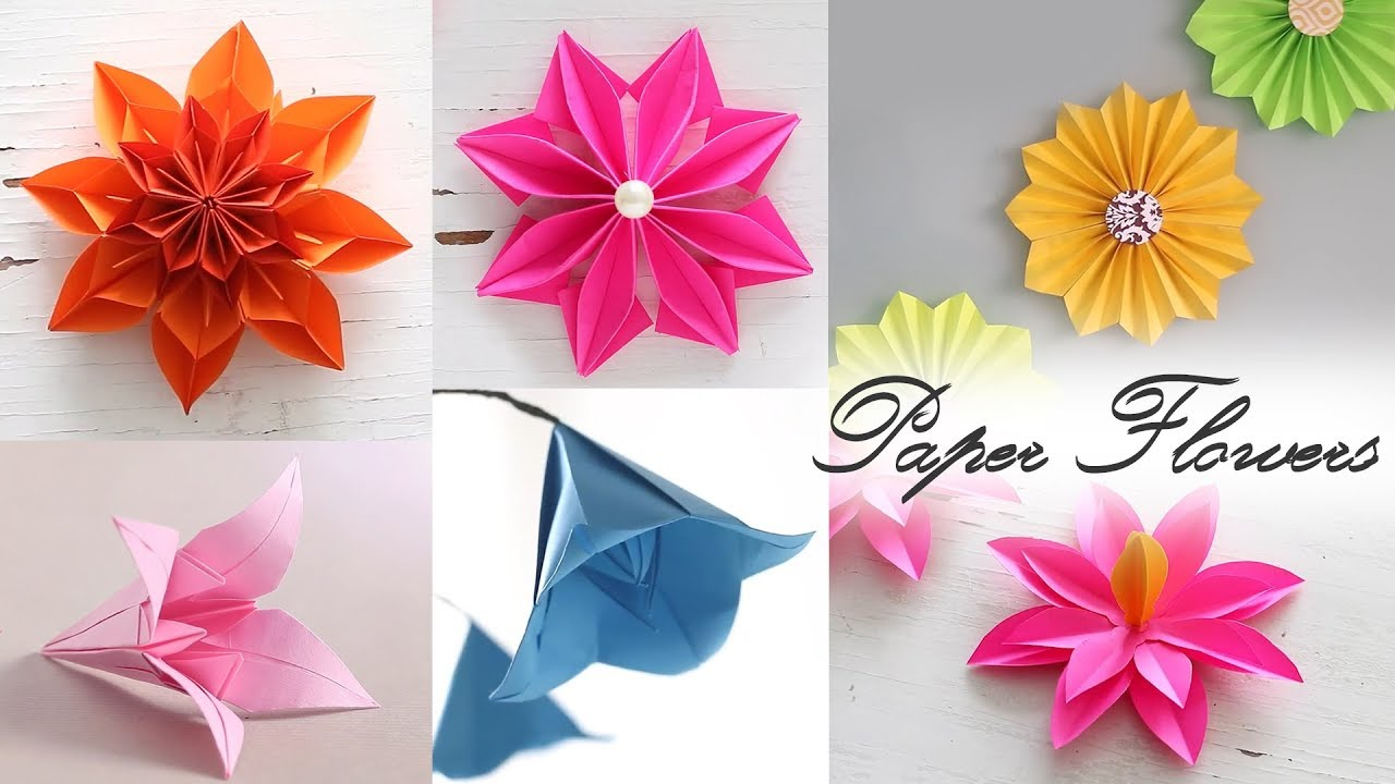 6 Easy Paper Flowers Paper Folding Diy Craft Youtube