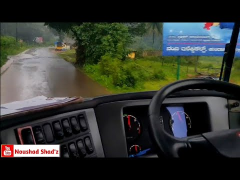 SCANIA 13.7 Easily driving in narrow road with heavy rain!!!!!