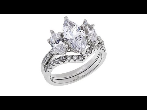 Absolute Sterling Silver 3Stone Marquise 2piece Ring Set. https://pixlypro.com/z7sADTf