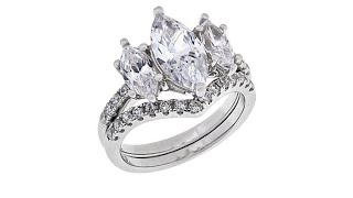 Absolute Sterling Silver 3Stone Marquise 2piece Ring Set thumbnail