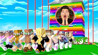 Never Break Into Preston's Impossible RAINBOW House! (Minecraft)
