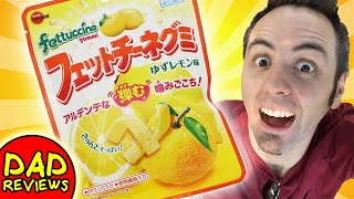 AMERICANS TRY JAPANESE CANDY   Fettuccine Gummy Japan Candy Taste Test & Review