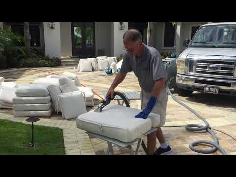 Outdoor cushions cleaning after bleaching