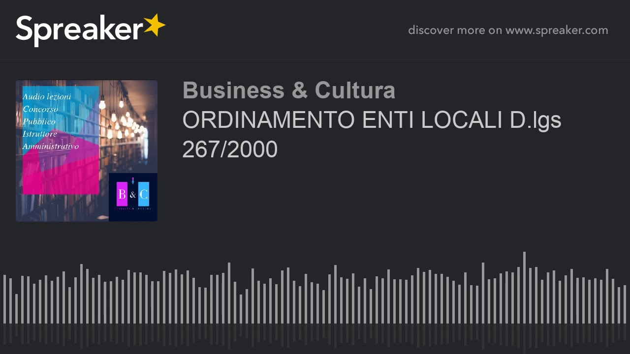 Ordinamento Enti Locali D Lgs 267 2000 Audio Youtube