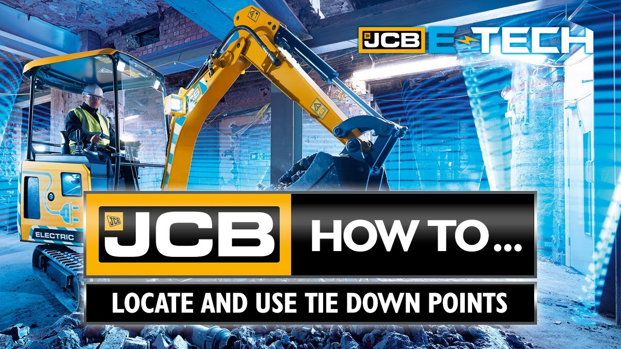 How to locate and use tie down points on the JCB 19C-1E electric mini excavator