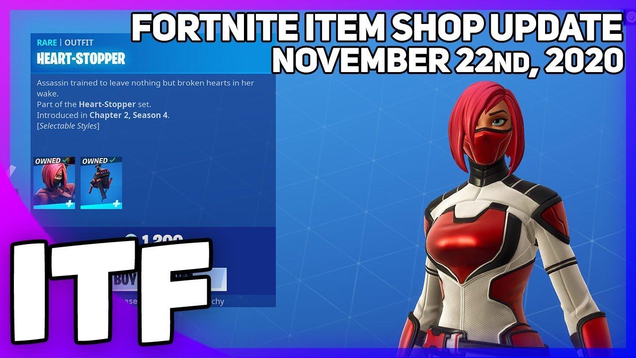 Fortnite Item Shop *NEW* HEART-STOPPER SKIN + WRAP! [November 22nd, 2020] (Fortnite Battle Royale)