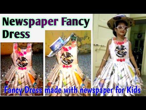 Fancy dress compition news paper dress