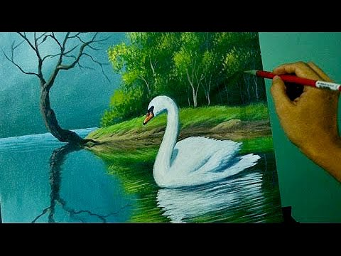 Acrylic Landscape Painting Lesson - The Swan In The Lake By JM Lisondra