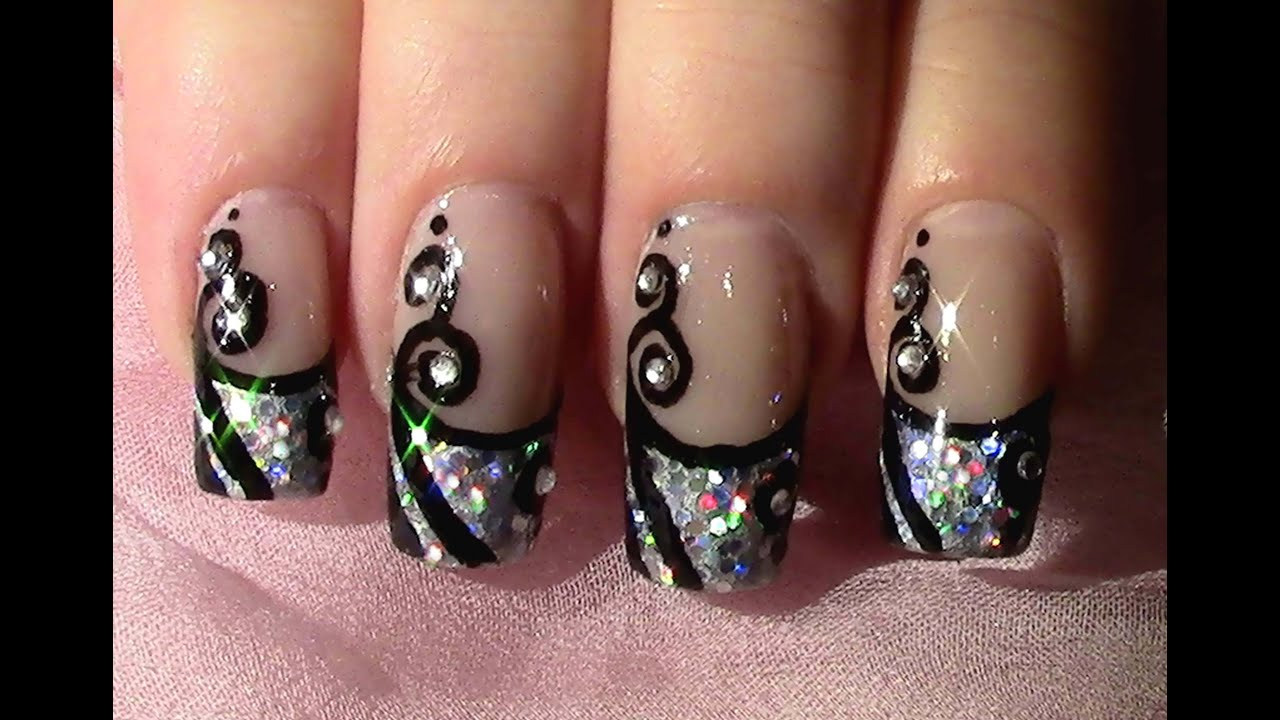 silvester nageldesign zum selber machen new year 39 s eve nail art design tutorial youtube. Black Bedroom Furniture Sets. Home Design Ideas