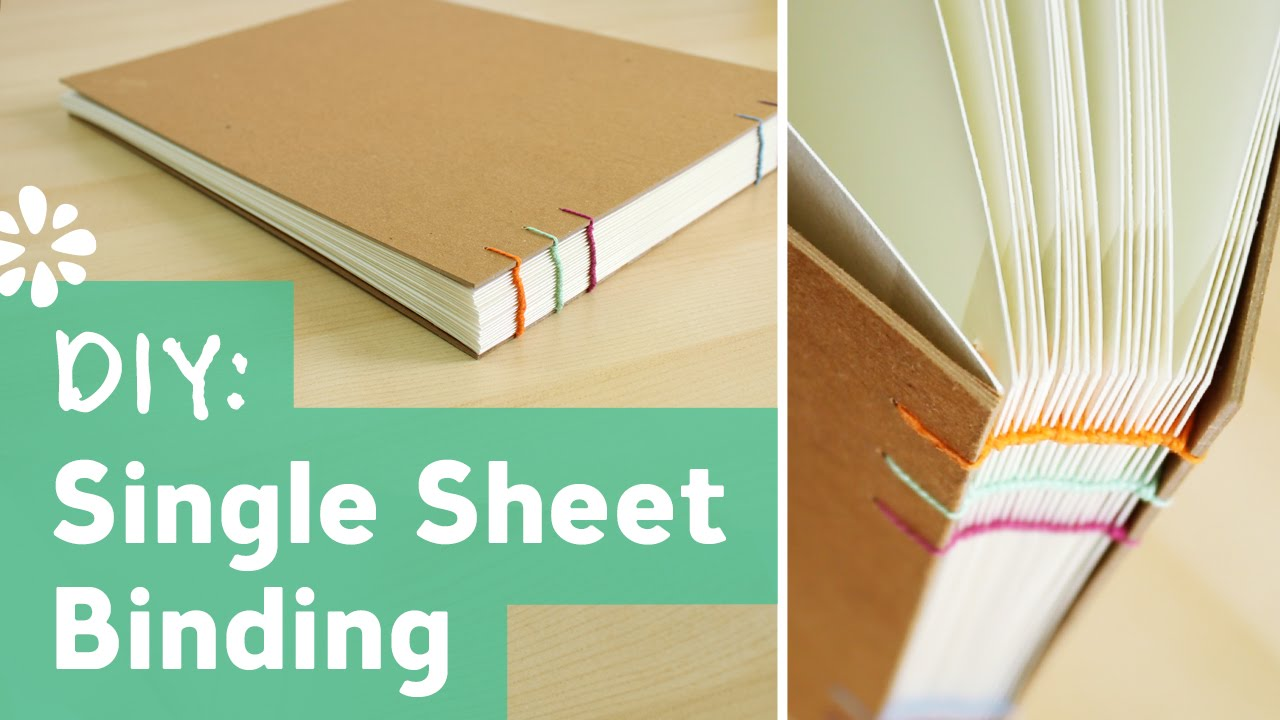 How To Make A Book Cover Binding ~ Diy single sheet bookbinding tutorial sea lemon youtube