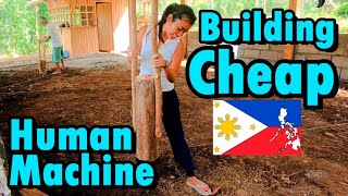 Building Cheap House in the Philippines | Laborer Human machine