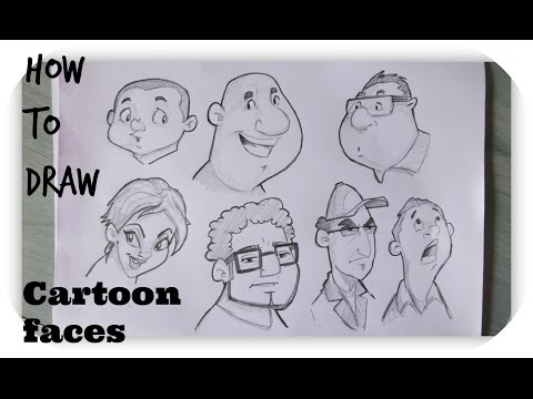 How to draw Cartoon Human Faces | Character Design |Timelapse thumbnail