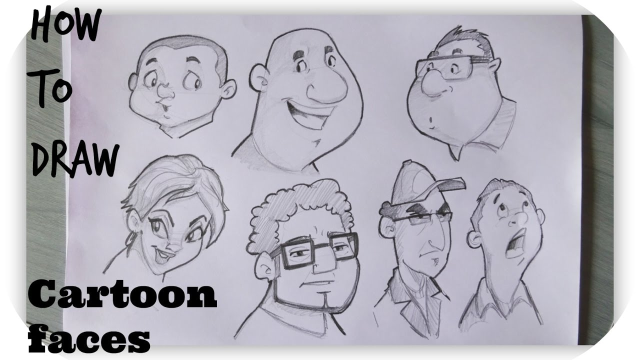 How to draw cartoon human faces character design timelapse
