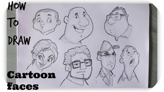 How to draw Cartoon Human Faces | Character Design |Timelapse