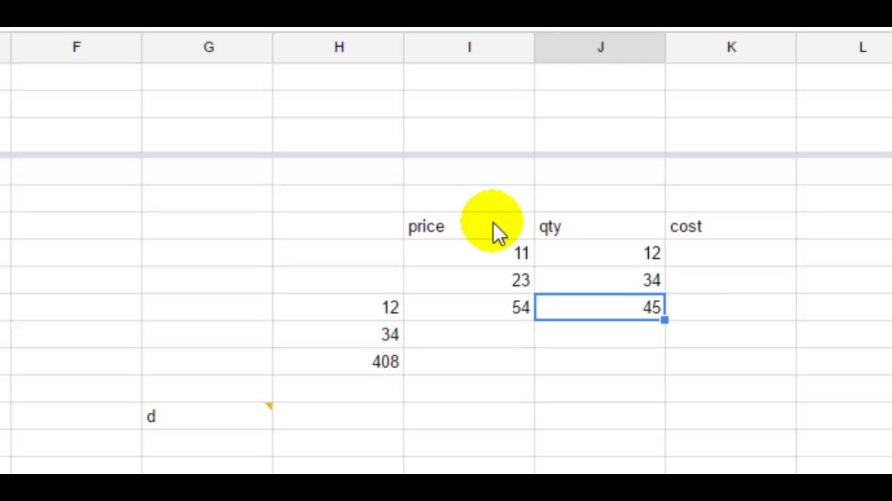 How to multiply two cells in Google spreadsheet
