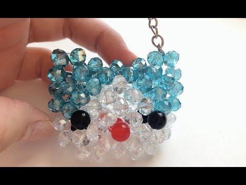 DIY Kawaii Bead Hello Kitty Head Keychain 水晶串珠教学 可爱水晶KT头挂饰