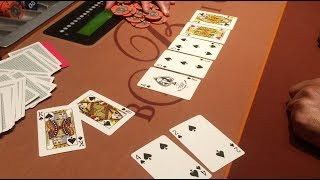 STRAIGHT FLUSH and guy goes ALL IN at the Bellagio